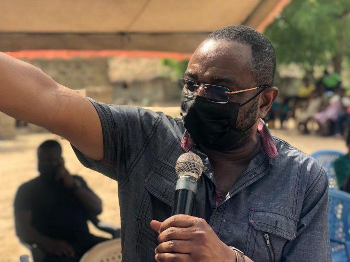 Hon. Kobena Mensah Woyome touring the South Tongu District of the Volta Region